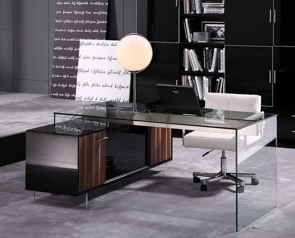 """29.5"""" Glass and Stained Wood Office Desk with a Storage Cabinet"""