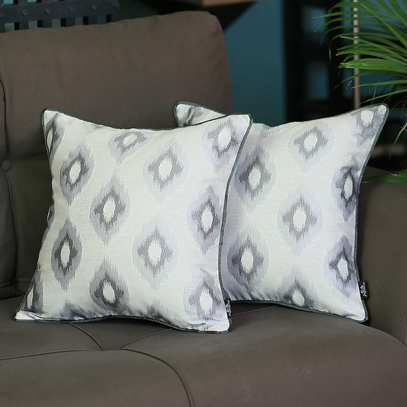 "17""x 17""Sky Blue Jacquard Slices Decorative Throw Pillow Cover Set Of 2 Pcs Square"