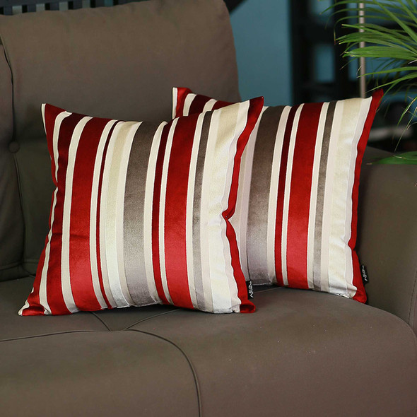 "17""x17""Red Velvet Luxurious Throw Decorative Pillow Case Set of 2 pcs Square"