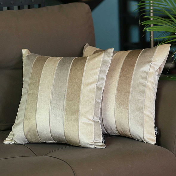 "17""x17""Brown Velvet Luxurious Throw Decorative Pillow Case Set of 2 pcs Square"