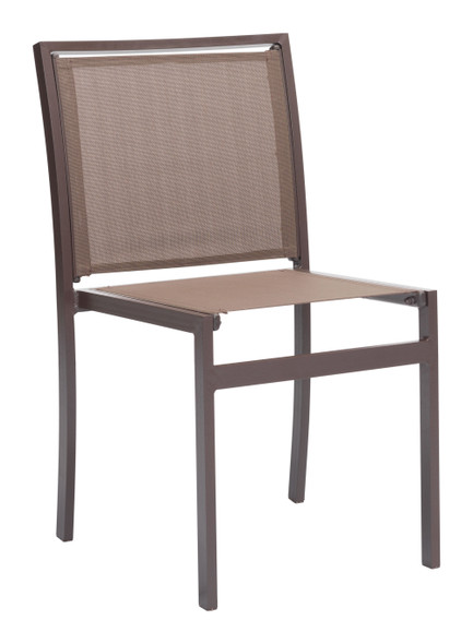 "19"" x 23.5"" x 33.5"" Brown, Mesh, Powder Coated Aluminum, Dining Chair - Set of 2"