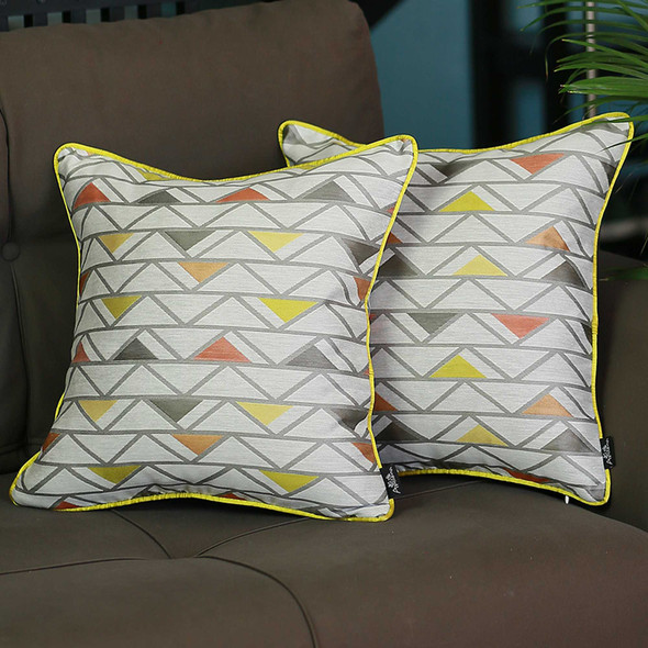 "17""x 17"" Colorful Jacquard Shapes Decorative Throw Pillow Cover Set Of 2 Pcs Square"