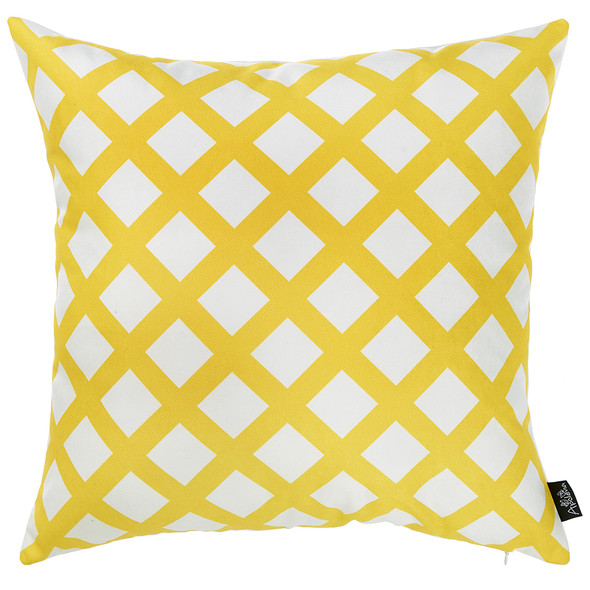 "18""x 18"" Tropical Cross Squares Decorative Throw Pillow Cover"