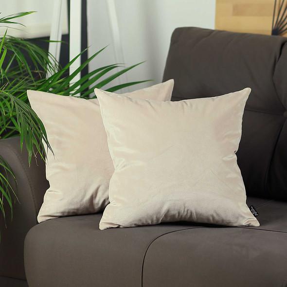 "18""x18"" Light Beige Velvet Decorative Throw Pillow Cover (2 Pcs in set)"