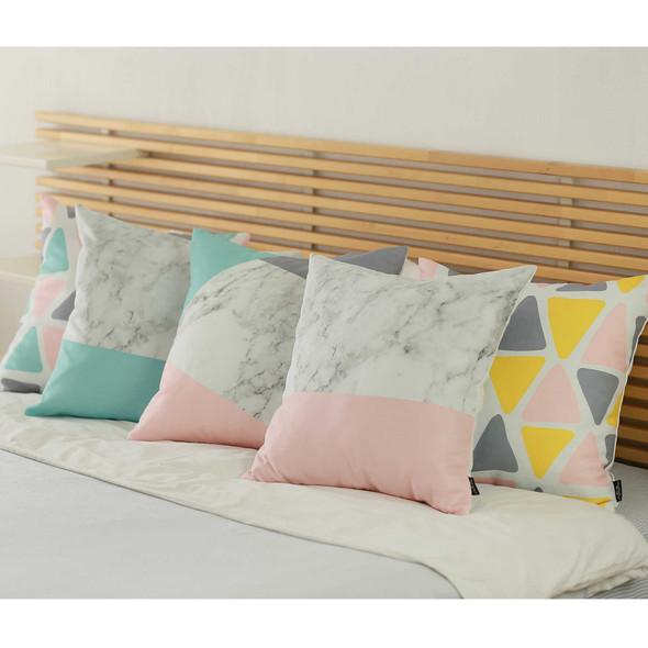 "18""x18"" Scandi Square Mirror Design Decorative Throw Pillow Cover - 355387"