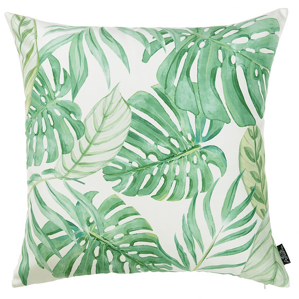 "18""x 18"" Tropical Monstera Printed Decorative Throw Pillow Cover"