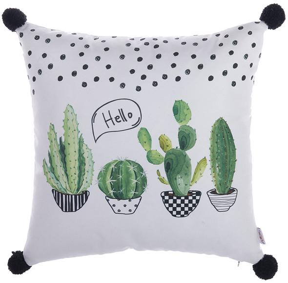 """18""""x 18"""" Cactus PomPom Decorative Throw Pillow Cover"""