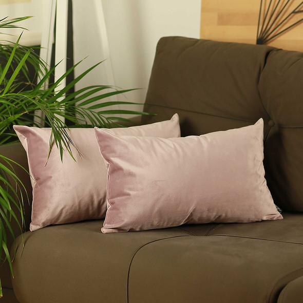 "21""x14"" Pink Velvet Blush Decorative Throw Pillow Cover (2 Pcs in set)"