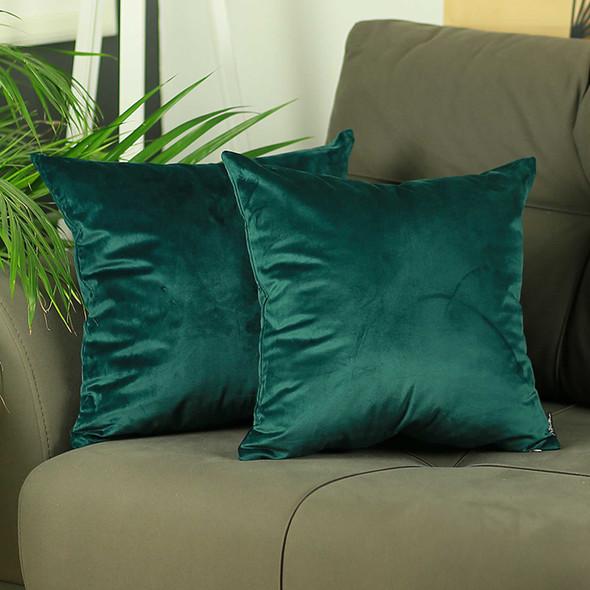 "18""x 18""Green Velvet Dark Emerald Decorative Throw Pillow Cover 2 Pcs in set"