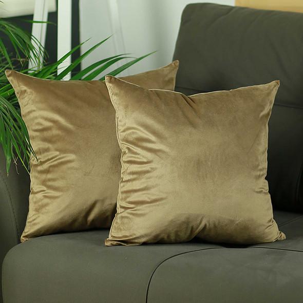 "18""x 18"" Brown Velvet Tortilla Decorative Throw Pillow Cover 2 Pcs in set"