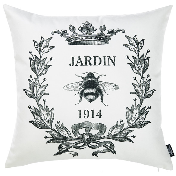 """18""""x 18"""" Black and White Jardin Decorative Throw Pillow Cover"""