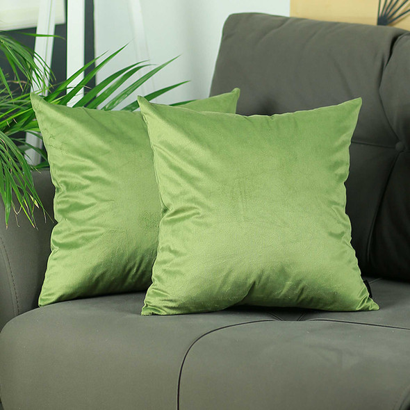 "18""x 18"" Green Velvet Decorative Throw Pillow Cover 2 Pcs in set"
