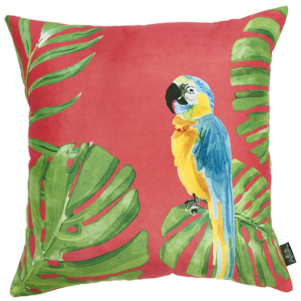 """18""""x 18"""" Tropical Parrot Greek Printed Decorative Throw Pillow Cover"""