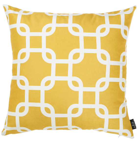 "18""x18""Yellow Nautica Latice Decorative Throw Pillow Cover Printed"