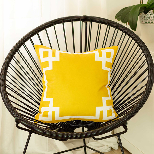 "18""x18"" Yellow and White Geometric Decorative Throw Pillow Cover"