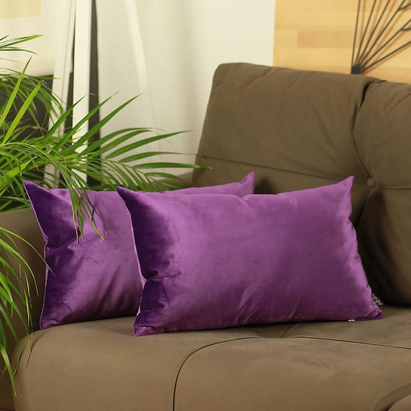 "21""x14"" Purple Velvet Decorative Throw Pillow Cover 2 Pcs in set"