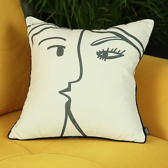 "18""x18"" Skandi BW Passion Decorative Throw Pillow Cover Printed"