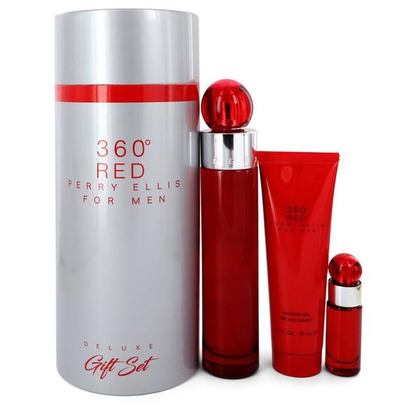Perry Ellis 360 Red by Perry Ellis Gift Set -- 3.4 oz Eau De Toilette Spray + .25 oz Mini EDT Spray + 3 oz Shower Gel in Tube Box for Men