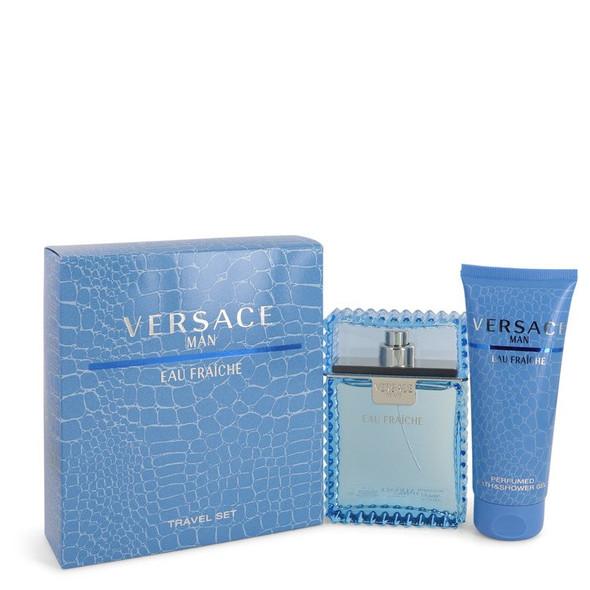 Versace Man by Versace Gift Set -- 3.3 oz Eau De Toilette Spray (Eau Frachie) + 3.3 oz Shower Gel for Men