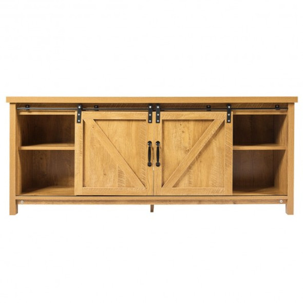 TV Stand with Cabinet Sliding Barn Door -Golden