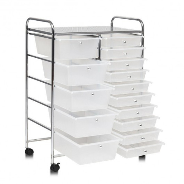 15 Drawers Rolling Storage Cart Organizer-clear