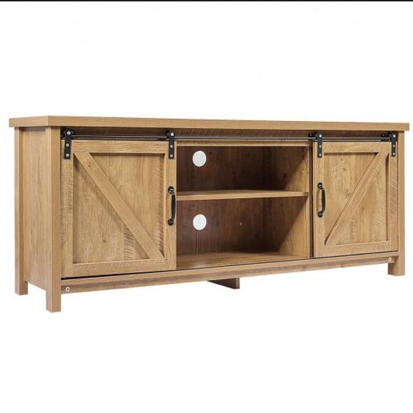 TV Stand with Cabinet Sliding Barn Door -Oak