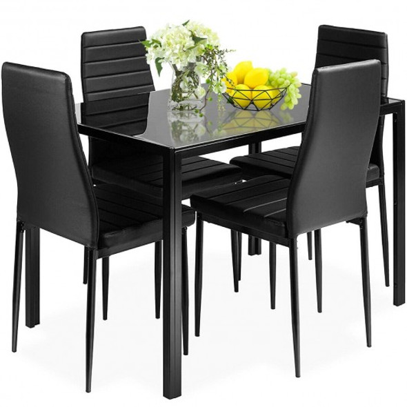 5 pcs Metal Frame and Glass Tabletop Dining Set - COHW65985