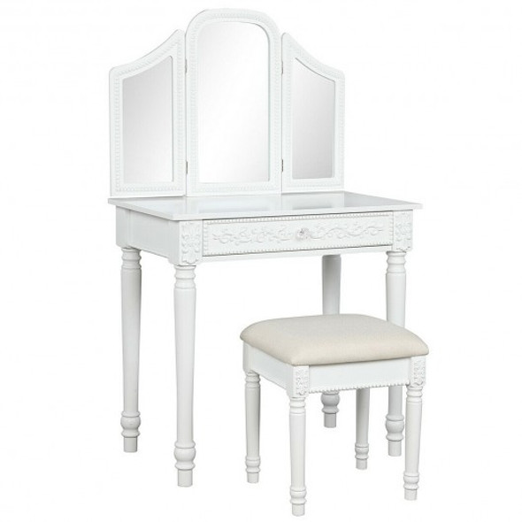 Vanity Dressing Makeup Table Set with Tri-Folding Mirror and Stool-White