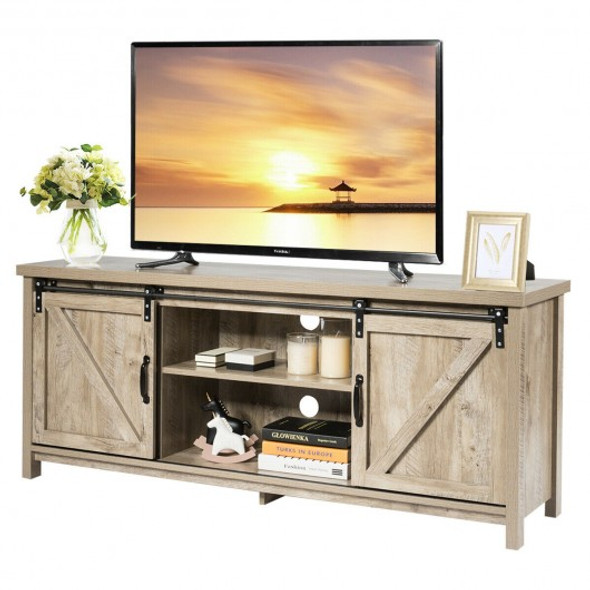 TV Stand with Cabinet Sliding Barn Door -White