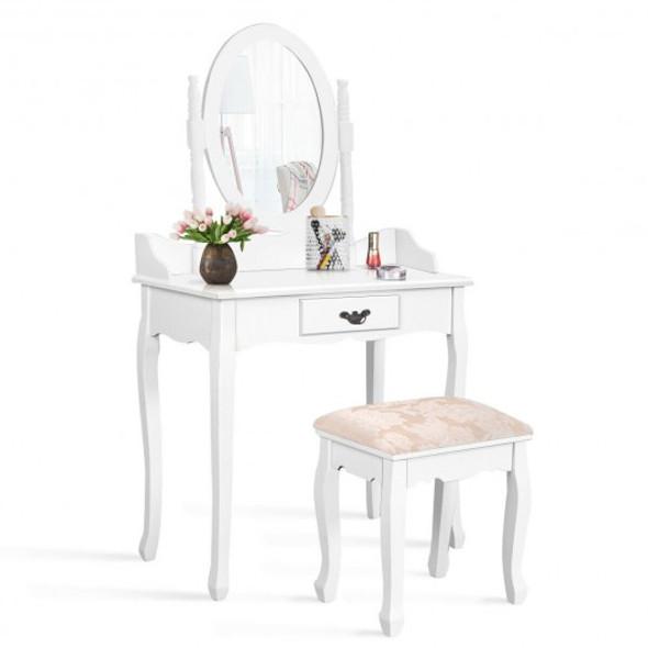 Vanity Makeup Dressing Table Stool Set-White