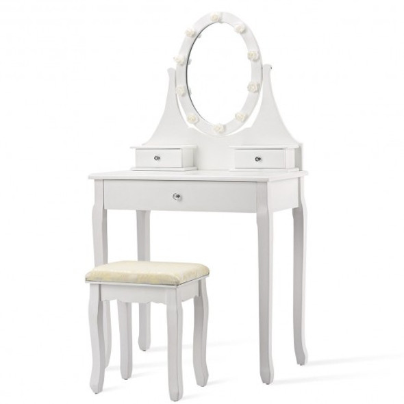 3 Drawers Lighted Mirror Vanity Dressing Table Stool Set-White