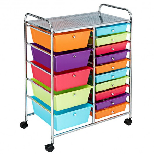 15-Drawer Utility Rolling Organizer Cart Multi-Use Storage-Deep Multicolor