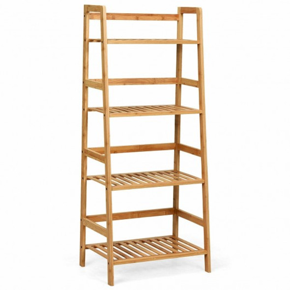 4-Tier Bamboo Ladder Shelf-Natural