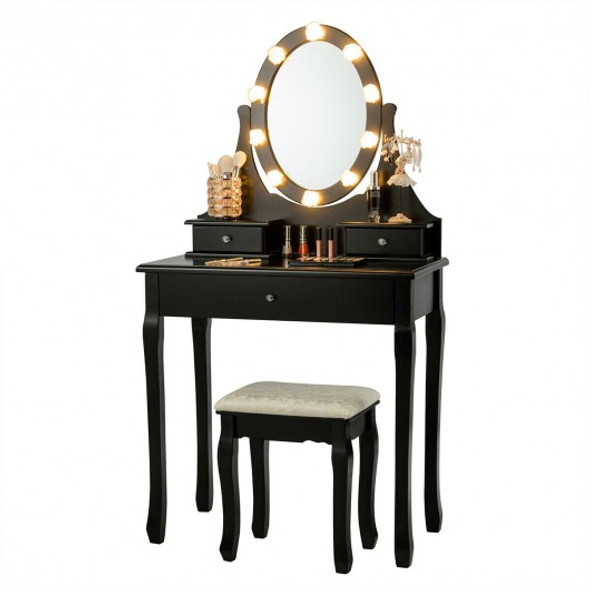 3 Drawers Lighted Mirror Vanity Dressing Table Stool Set-Black
