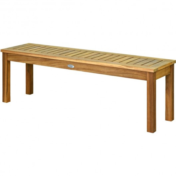 "52"" Outdoor Acacia Wood Dining Bench Chair"
