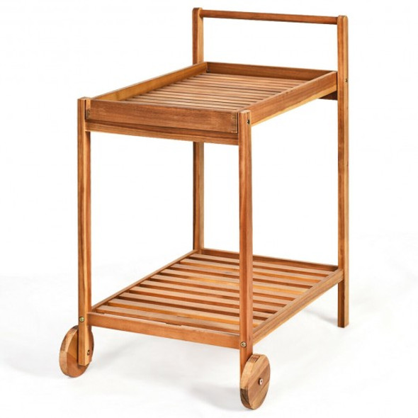 2-Tier Acacia Rolling Kitchen Trolley Cart