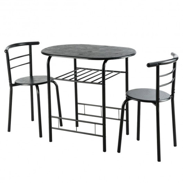 3 pcs Home Kitchen Bistro Pub Dining Table 2 Chairs Set-Black