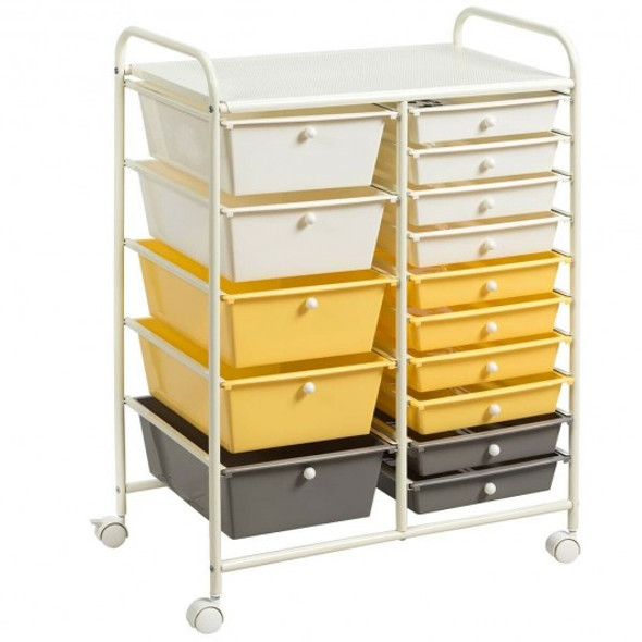 15-Drawer Storage Rolling Organizer Cart-Yellow