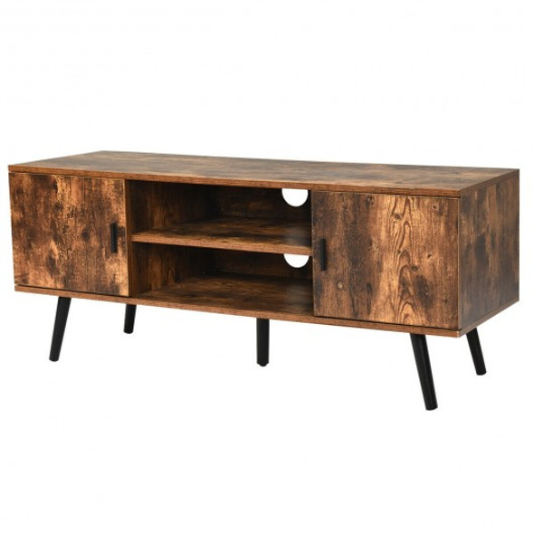 Industrial TV Stand with Storage Cabinets-Coffee