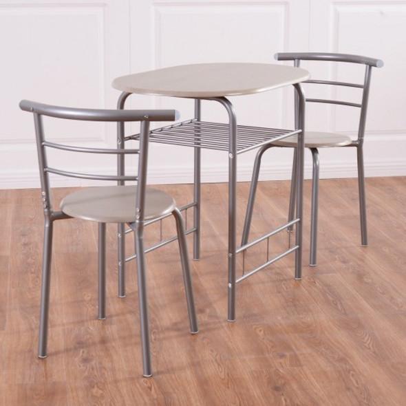 3 pcs Home Kitchen Bistro Pub Dining Table 2 Chairs Set - COHW54057GR