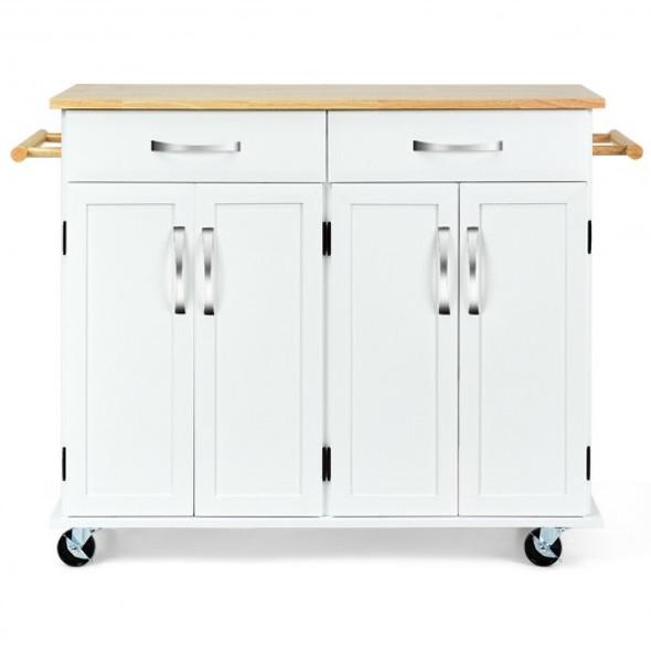 Wood Top Rolling Kitchen Trolley Island Cart Storage Cabinet-White