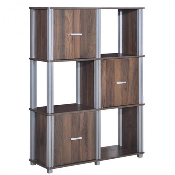 3-Tier 6 Cubes Storage Shelf Cabinet-Walnut