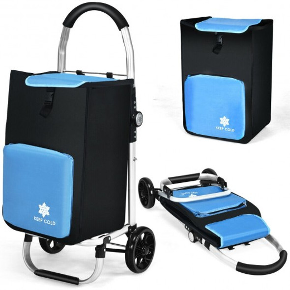 Folding Utility Shopping Trolley with Removable Bag-Blue