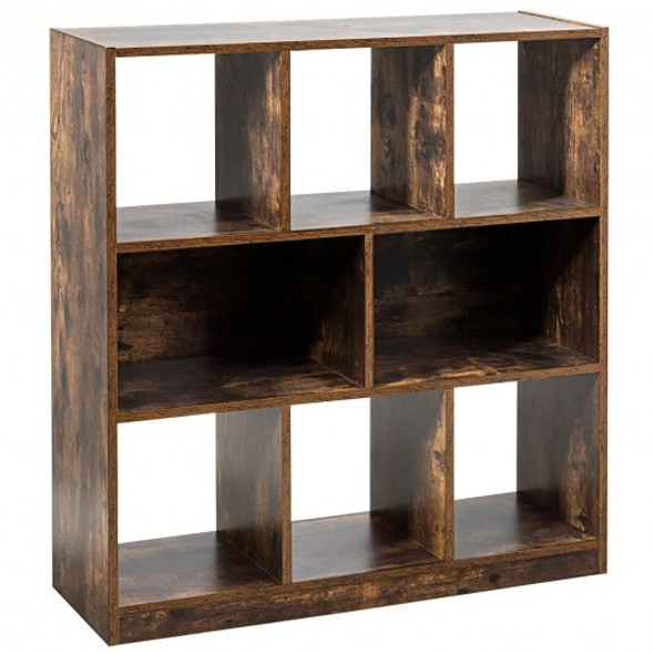 Open Compartments Industrial Freestanding Bookshelf-Brown