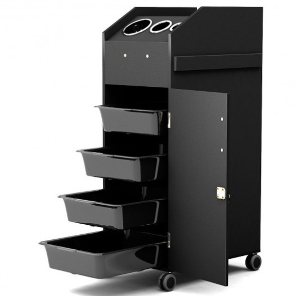 Black Salon Trolley Cart with 4 Storage Trays-Black
