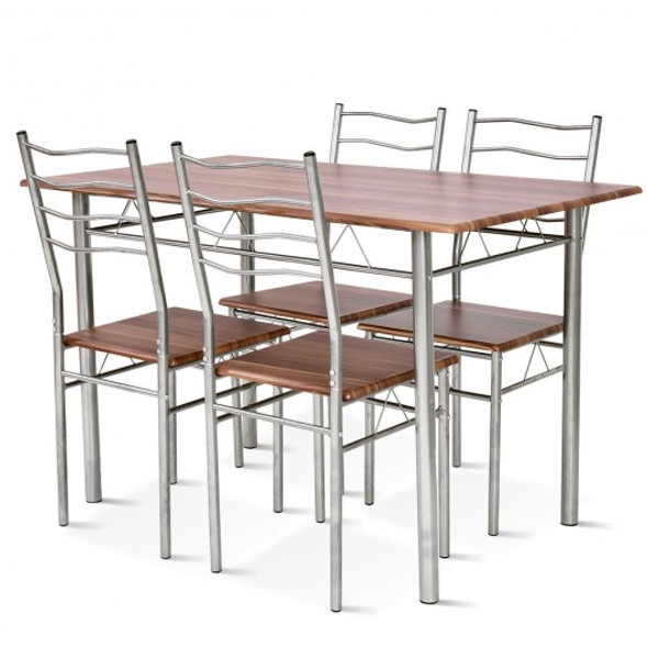 5 pcs Wood Metal Dining Table Set with 4 Chairs-Walnut