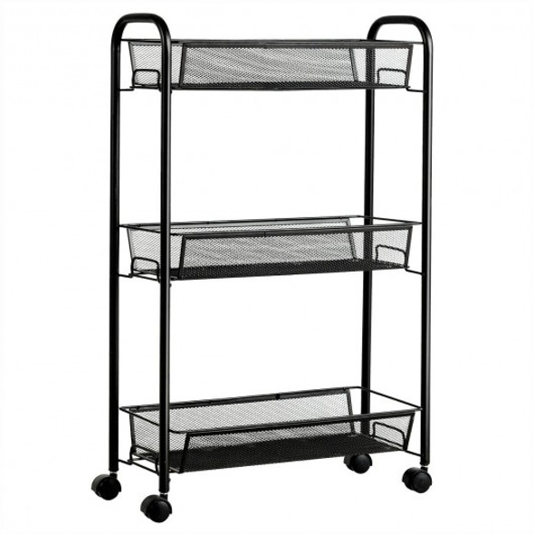 3-Tier Mesh Rolling Cart Mobile Organizer Stand Utility Cart Trolley - COHW63143BK
