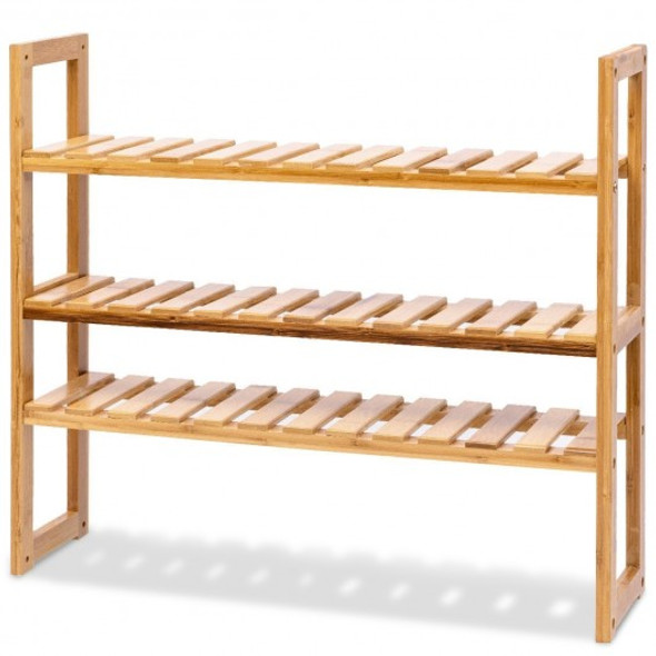 Multifunctional 3 Bamboo Adjustable Utility Storage Stand Rack