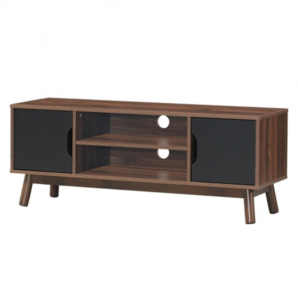 "50"" Wood Media TV Stand with Storage Shelf-Black"