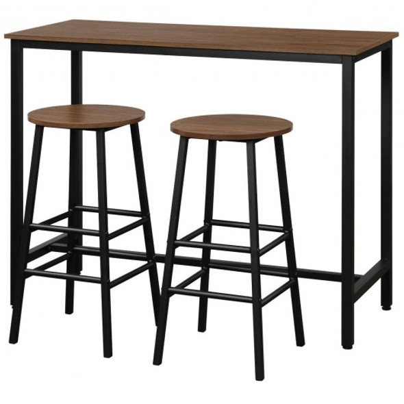 3 Piece Pub Table and Stools Kitchen Dining Set-Brown